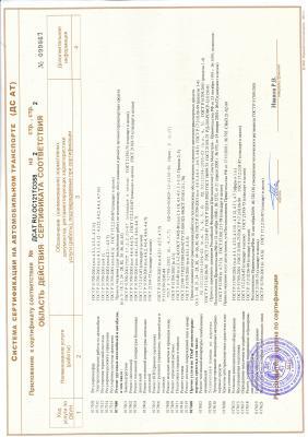 Приложение к сертификату соответствия №ДСАТ RU.OC121TO358 (стр.2)
