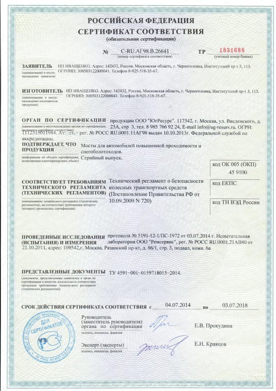 Сертификат соответствия №C-RU.АГ98.В.26641 TP 1831688